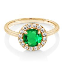 Gem Stone King 18K Yellow Gold Plated Silver 1.42 Ct Simulated Emerald Halo Engagement Ring
