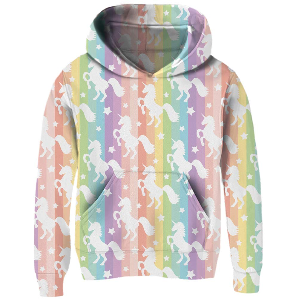 uideazone Girls Cute Rainbow Unicorn Hoodies Kids Long Sleeve Hooded Sweatshirt Casual Graphic Pullover Hoody Coat Jacket 4-6 Years