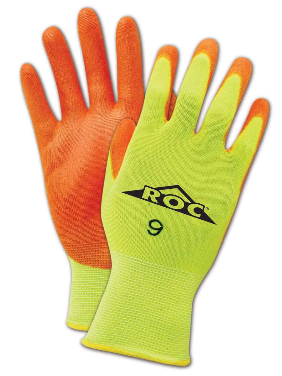 "MAGID ROC HV144 Nylon Glove, Orange Polyurethane Palm Coating, Knit Wrist Cuff, 11"" Length, Size 11 (12 Pair)"