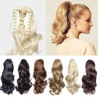 """12"""" Short Curly Claw Ponytail Hair Extension Cute Clip In On Ponytail With Claw/Jaw Fluffy Hairpiece One Piece Big Wave Synthetic Heat Resistant Hair For Daily Use(12""""Curly,ash blonde)"""