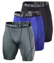 SILKWORLD Mens Capri Compression Pants Leggings Active Base Layer Tights for Workouts Sports Jogging, Brown, US Large