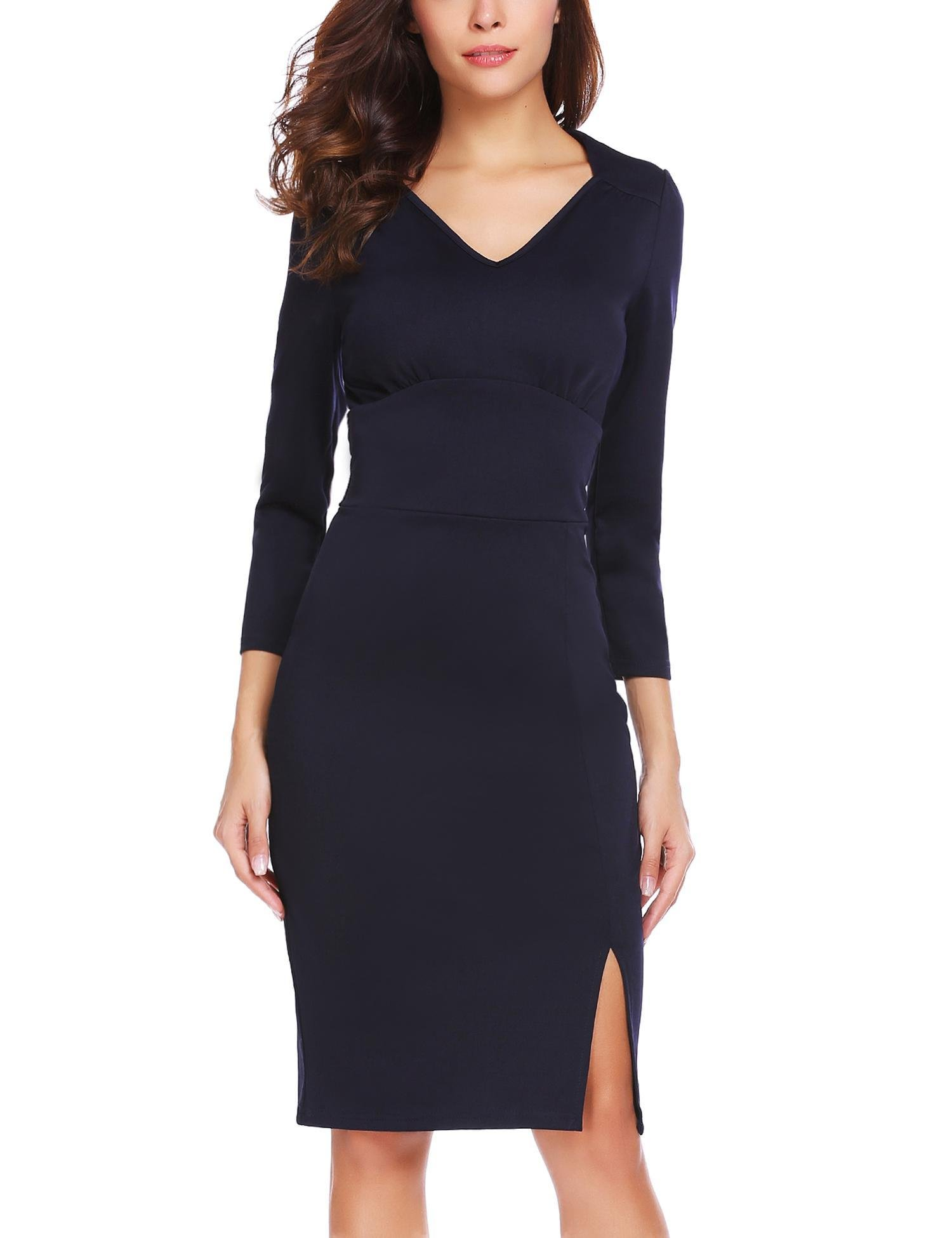 ANGVNS Women's V-Neck 3/4 Sleeve High Waist Wear to Work Pencil Split Midi Dress