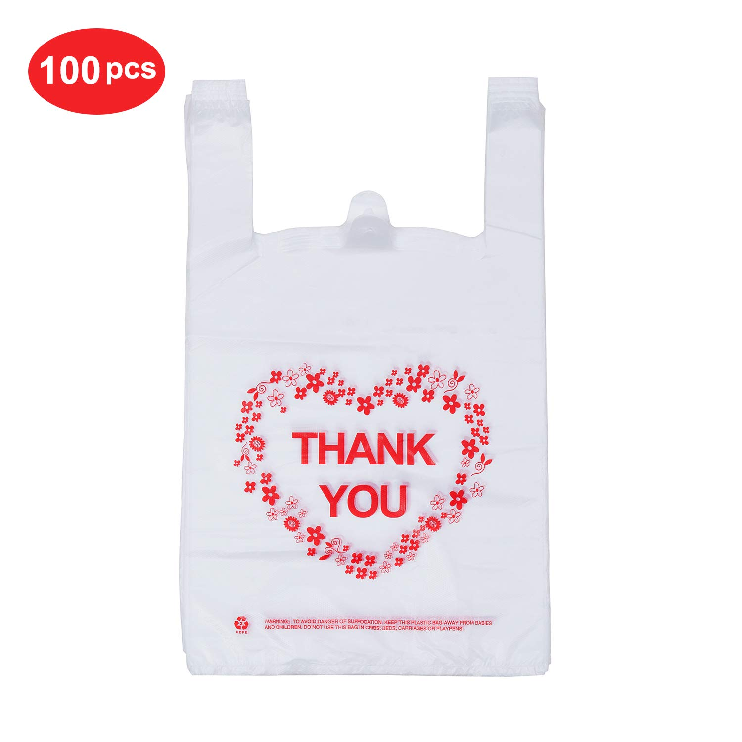 LazyMe Thank You T Shirt Bags Plastic Grocery Bags White Sturdy Handled Merchandise Bags,Standard Supermarket Size, 12 x 20 inch (100 pcs)