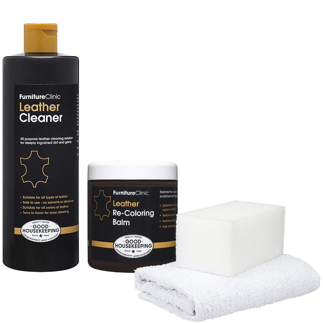 Furniture Clinic Leather Easy Restoration Kit | Set Includes Leather Recoloring Balm & Leather Cleaner, Sponge & Cloth | Restore & Repair Your Sofas, Car Seats & Other Leather Furniture (Cream)