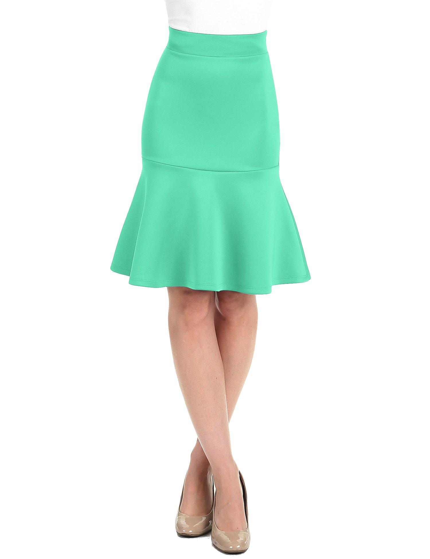 WT1471 Womens High Waist Bodycon Fishtail Midi Skirt XXL Kelly_Green