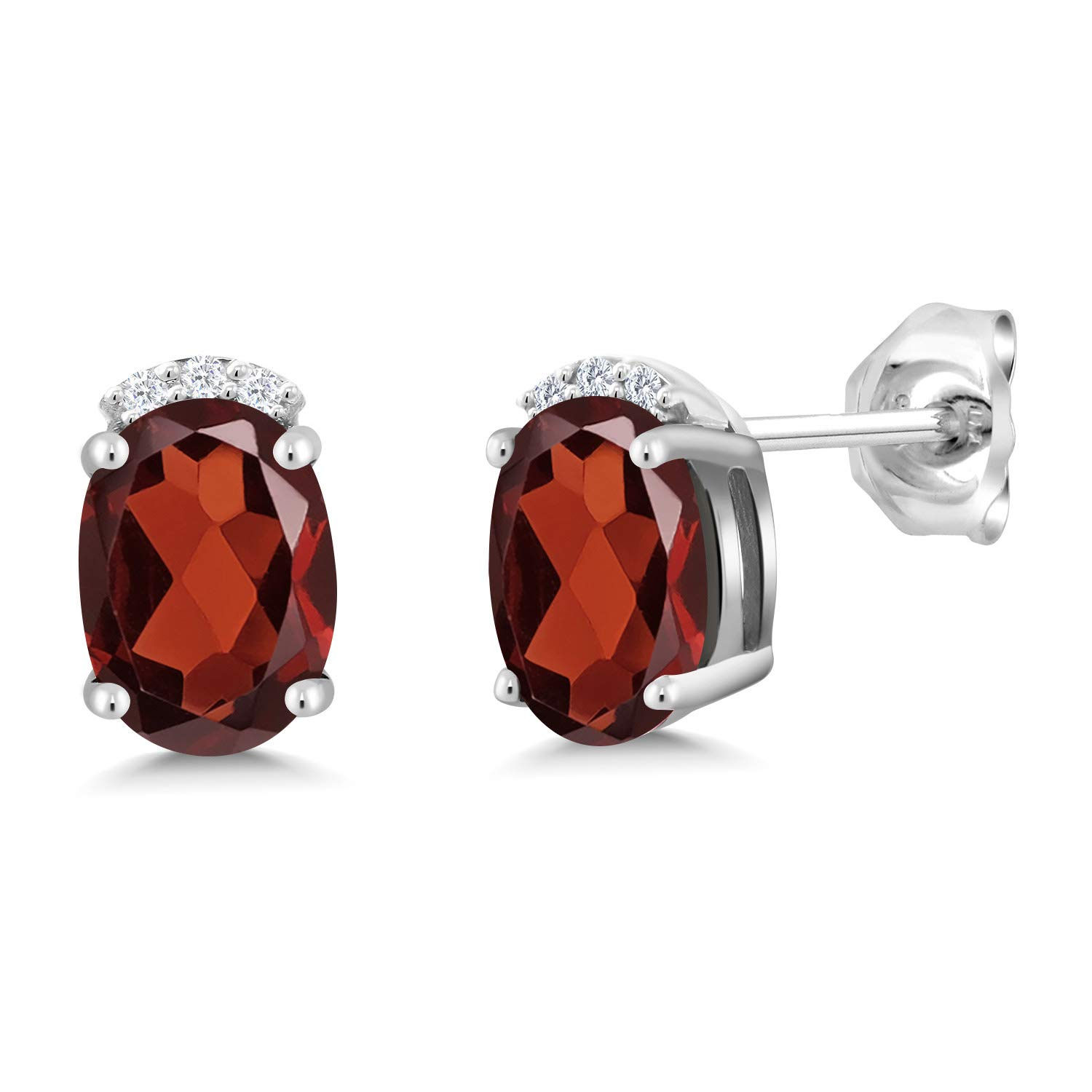 Gem Stone King 925 Sterling Silver Red Garnet and White Lab Grown Diamond Earrings For Women (1.80 Ct Oval 7X5MM)