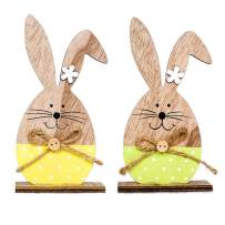Easter Decorations Wooden Bunny/Eggs with Bow Tie,Cute Standing Rabbit/Eggs Easter Wood Crafts Toys Gifts Ornaments for Inside Home Party Table Top,Pack of 2