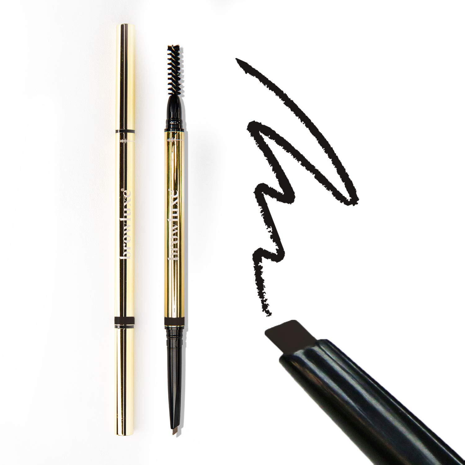 browluxe Precision Brow Pencil for Microblading Effect | Carbon Natural Black Eyebrow Pencil | Brow Pencil with Brush | Smudge Proof Eyebrow Color