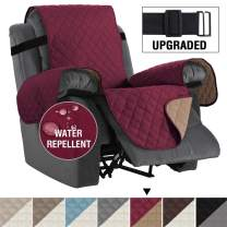 "Reversible Recliner Cover Recliner Slipcover Recliner Furniture Protector 2"" Elastic Strap Slip Resistant Water Repellent Slipcover Seat Width Up to 30"" (Oversized Recliner, Burgundy/Tan)"