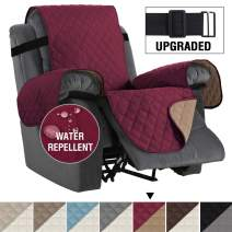 "Reversible Recliner Cover Recliner Slipcover Recliner Furniture Protector 2"" Elastic Strap Slip Resistant Water Repellent Slipcover Seat Width Up to 30"" (Oversized Recliner, Burgundy/Tan)"