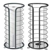 mDesign Decorative Metal Free Standing Toilet Paper Holder Stand with Storage for 3 Rolls of Toilet Tissue - for Bathroom/Powder Room - Holds Mega Rolls - 2 Pack - Matte Black