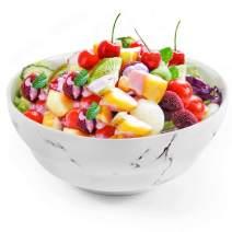 77L Porcelain Soup Bowls, 43.91 FL OZ (1300 ML) White Ceramic Soup/Cereal Bowls, Marble Serving Bowls Set for Soup, Ice Cream, Cereal, Salad, Pasta and More (7.92 Inches Diameter, 1PCS)