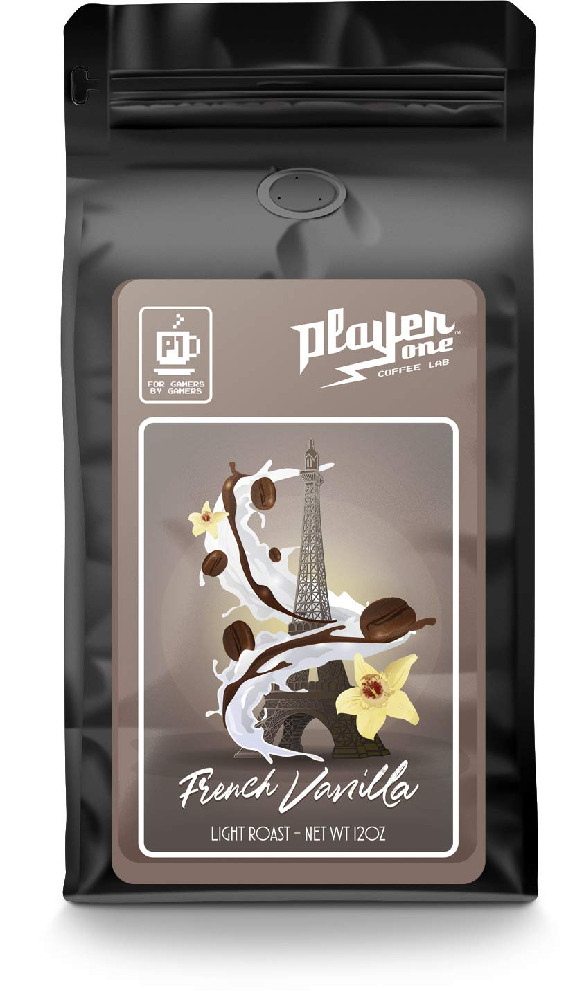 French Vanilla Flavored Coffee, 12oz, Low Acid, Fresh Roasted Coffee, Player One Coffee (Ground)