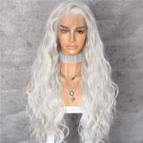 Sapphirewigs Blonde Color #60 Curly Style Kanekalon Futura Hair No-Tangle Natural Hairline 6''×13'' Deep Big Lace Freedom Part Daily Makeup Women Cosplay Blogger Celebrity Synthetic Lace Front Wigs