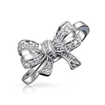 Vintage Style Bridal Cubic Zirconia Pave CZ Statement Ribbon Bow Ring For Teen For Women 925 Sterling Silver