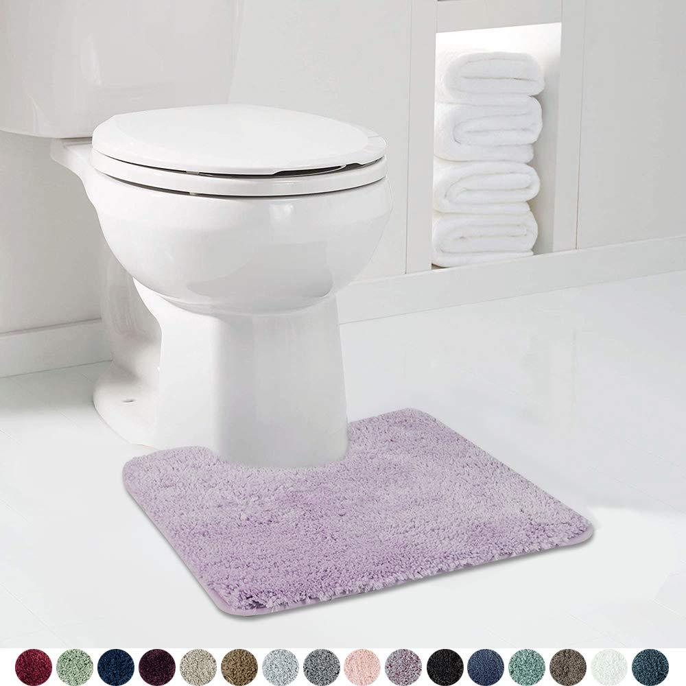 Walensee Bathroom Contour Rug (20x24, Lavender) Non Slip Bath Mat for Bathroom Water Absorbent Soft Microfiber Shaggy Bathroom Mat Machine Washable Bath Rug for Bathroom U Shape Toilet Rug
