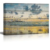 wall26 - Relaxing Beach Scene on a Rustic Wooden Background - Canvas Art Home Decor - 12x18 inches