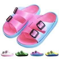 techcity Women/Men's Comfort Slide Sandal Lightweight Slip On Non-Slip Beach Pool Bathroom Slippers Water Shoes