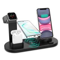 Wireless Charger, 3 in 1 Wireless Charging Station, Charging Dock for iPhone/AirPods, Qi-Certified Fast Wireless Charging Stand iPhone 11/11Pro/11Pro Max/X/XS/XR/Max / 8/8 Plus Samsung (Black)