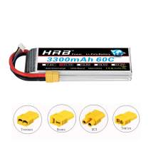 HRB 3S 11.1V 3300mAh 60C Lipo Battery with XT60 Connector for Traxxas 1/10 Rustler VXL Stampede 2WD VXL Stampede 4x4 VXL Bandit VXL Funny Car(EC3/Deans/Traxxas/Tamiya)