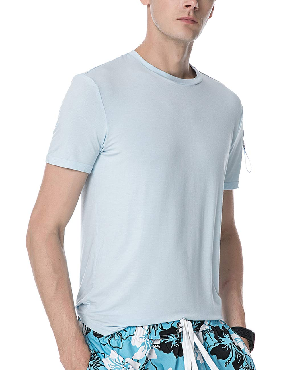 APRAW Mens Urban Hipster Hip Hop T Shirts Short Sleeves Cotton Longline Casual Tee Top Zipper Pocket