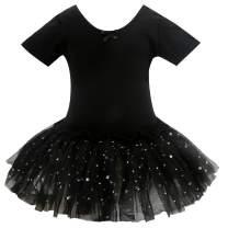 Bosowos Girls Skirted Leotard, Dance Dress Ballet Dancewear, Short Sleeve Glitter Tutu for Toddler Kid Girl