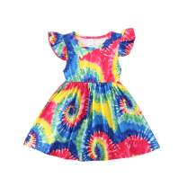 Pudcoco Baby Girls Sleeveless Tie Dye Dress Summer Colorful Round Neck Casual A-Line Sundress for 1-5T