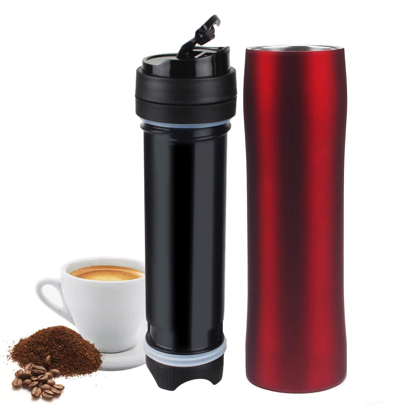 Portable French Press Coffee Maker,Vacuum Insulated Travel Mug, Premium Stainless Steel, Hot and Cold Brew (12 oz), Great for Commuter, Camping, Outdoors, Office (Red)