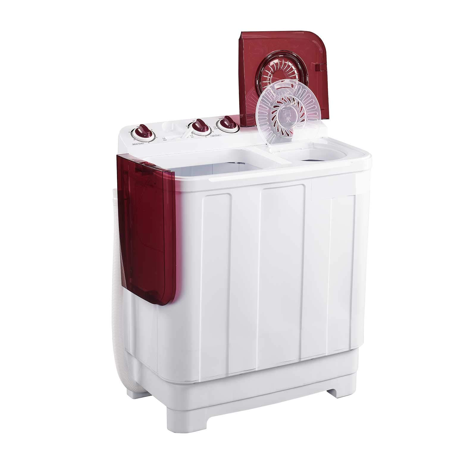 Frifer Portable Twin Tub Washing Machine, Compact Mini Washer and Spin Dryer Combo For Camping, Apartments, Dorms, College Rooms, RVs and more (25LB/white+red)