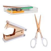 Draymond Story Acrylic Office Supplies Bundle 1) Staple Romovers 1) Scissors 1) Memo Holder (Desktop Stationery)