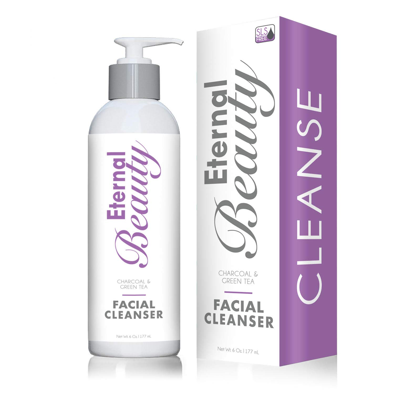 Cruelty Free Face Wash By Eternal Beauty - Detoxifying Charcoal, Gluten Free, For Sensitive Skin - Removes Dirt, and Makeup from Your Pores, Detoxifies, Based on Natural Ingredients!