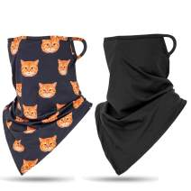 Kuston 2pcs Men Women Scarf Shield Bandana Face Cover Bandana with Ear Loops Balaclava Neck Gaiters for Dust face Scarf