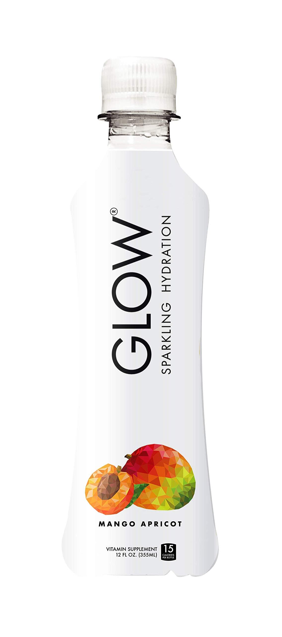 GLOW Beverages Premium Sparkling Infused Electrolyte Hydration Drink - 6 Pack 10.8oz Plastic - Mango Apricot - Vitamins & Antioxidants