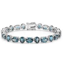 Dazzlingrock Collection 30.00 CT Real Oval Cut Genuine Blue Topaz 925 Tennis Bracelet, Sterling Silver