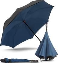 Repel Umbrella Inverted Umbrella, Upside Down Reverse Umbrella with 2 Layered Teflon Canopy and Reinforced Fiberglass Ribs