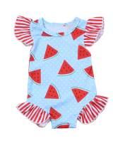 Newborn Swimsuit Baby Girls One Piece Bikini Ruffle Sleeve Watermelon Printed Swimwear Summer Swimsuit 0-18 Months