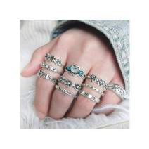 Campsis 10PCS Silver Floral Ring Sets Crystal Flower Joint Stacking Rings Multi Size Ring Jewelry for Women and Girls