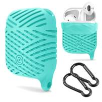 Compatible AirPods Case, NaHai Soft Silicone Case Water Resistant Shock Proof Protective Cover for AirPods Charging Case Teal