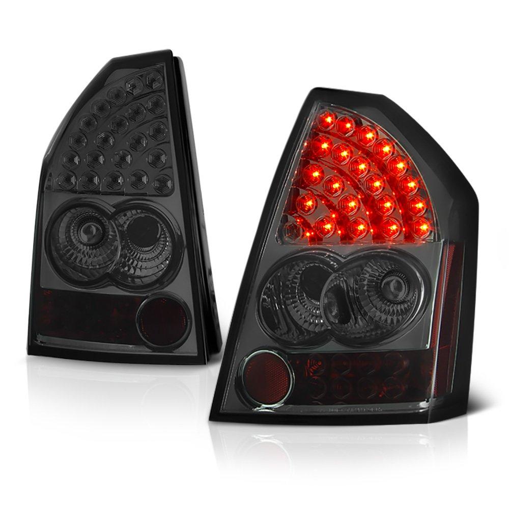 VIPMOTOZ Black Bezel Premium LED Tail Light Housing Lamp Assembly For 2005-2007 Chrysler 300 Driver and Passenger Side Replacement