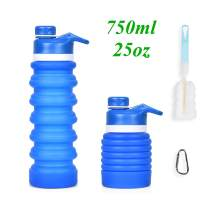 OTraki Collapsible Water Bottle 25oz Food Graded Silicone Leakproof Travel Water Bottle BPA Free for Sport Gym Camping Hiking with Carabiner + Clean Brush (Blue)