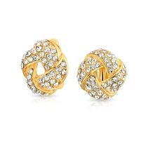 Twist Braided Pave Crystal Love Knot Button Style Clip On Earring For Women Non Pierced Ears Rose Goldtone Silver Plated