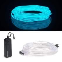 ZITRADES EL Wire, Portable Neon Lights EL Wire 15ft Ice Blue, Neon EL Wire for Parties, Blacklight Run, DIY Decoration