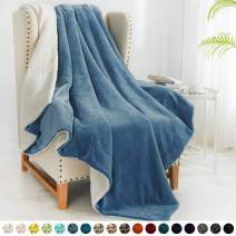"""Walensee Sherpa Fleece Blanket (Twin Size 60""""x80"""" Slate Blue) Plush Throw Fuzzy Super Soft Reversible Microfiber Flannel Blankets for Couch, Bed, Sofa Ultra Luxurious Warm and Cozy for All Seasons"""