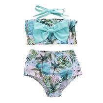 Toddler Baby Girls Swimsuit Outfit Halter Strap Crop Top +Coconut Waves Print Bikini Set 1-5T
