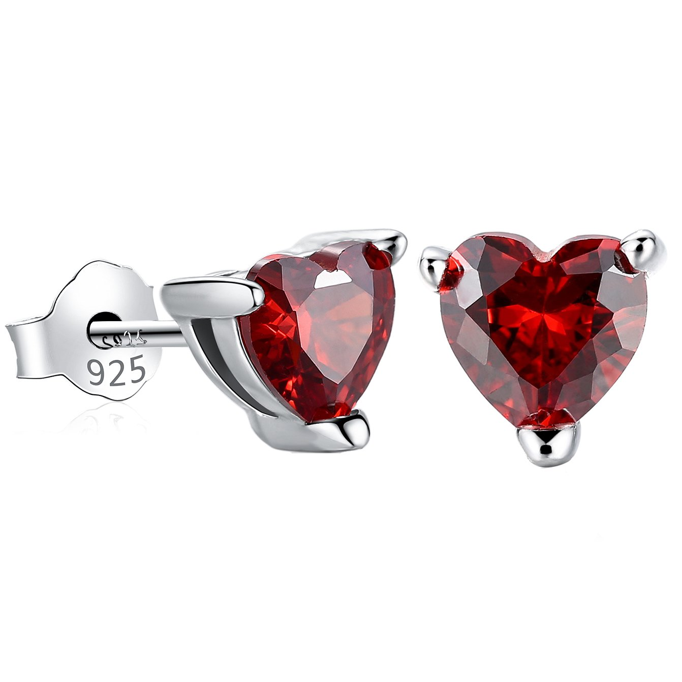 Gagafeel Red Heart Earrings for Women S925 Sterling Silver CZ Birthstone Xmas Valentine Birthday Small Stud Earrings Gift for Girls