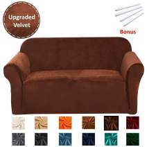 Argstar Velvet 3 Seat Couch Cover, Sofa Couch Cover for Living Room, Elastic Sofa Cover One Piece,Furniture Protector for Couch,Fitted Sofa Cover 3 Seat,3 Seat Sofa Covers for Living Room,Walnut Brown