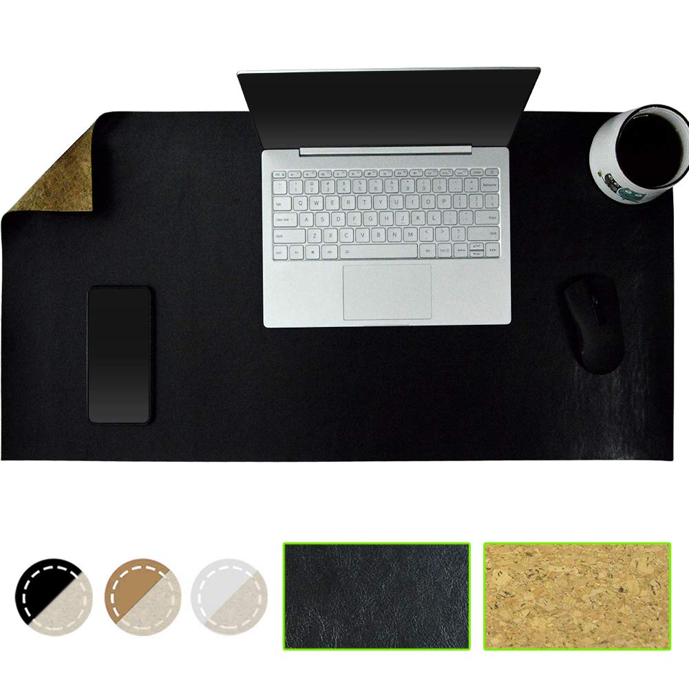 """PRACMANU Cork & Leather Eco-Friendly Natural Desk Mat Mouse Pad 31.5x15.7"""" Writing Extended PU Leather Smooth Surface Double-Sided Waterproof Multifunctional Slip Proof for Office/Home/Gaming Black"""