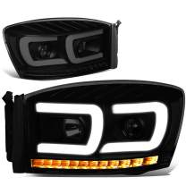 DNA Motoring HL-HPL-RM06-G2-BK-SM-CL1 Pair LED DRL+Sequential Chasing Turn Signal Projector Headlight