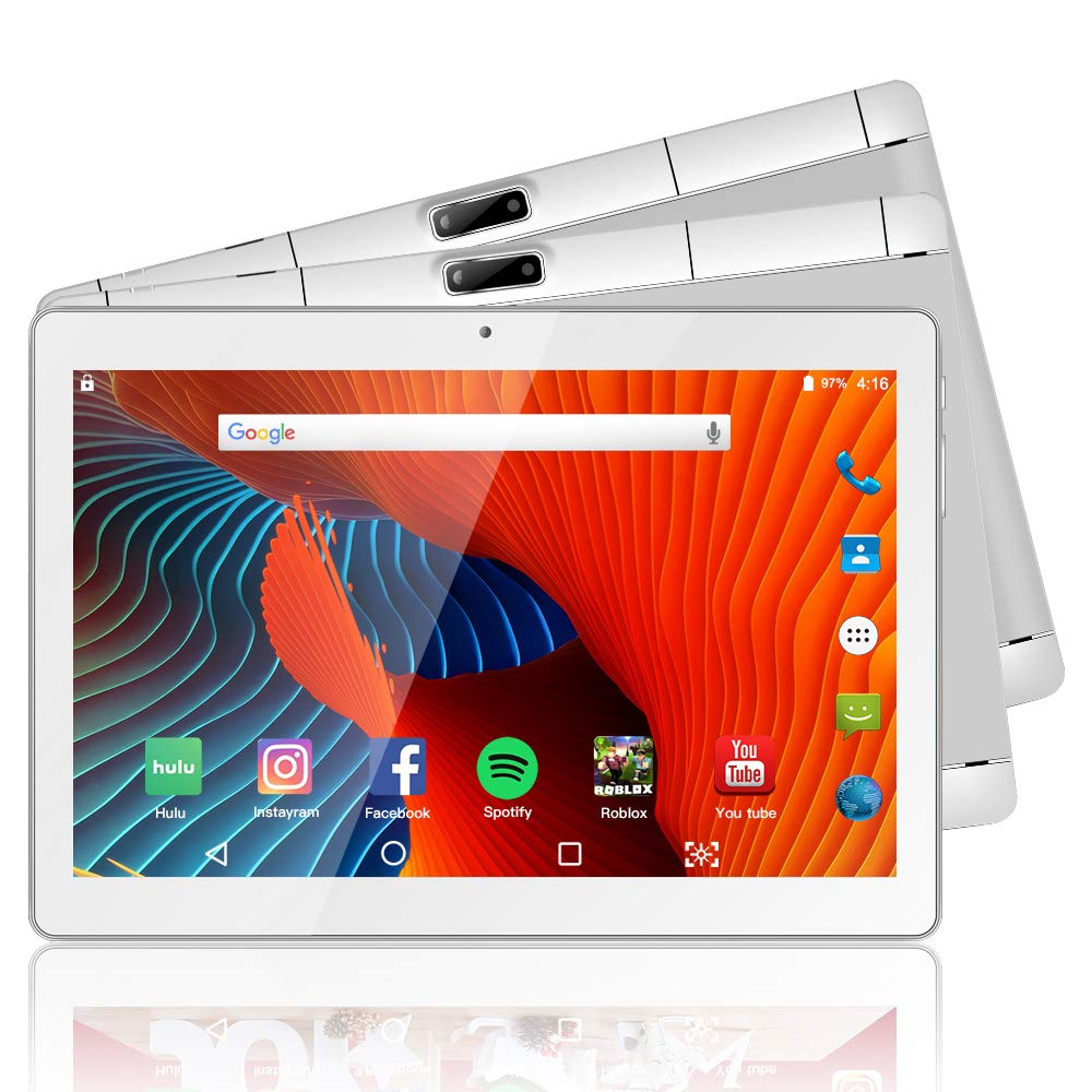 Tablet 10.1 Inch Android 9.0 3G Phone Tablets with 32GB ROM Dual Sim Card 2MP+ 5MP Camera, WiFi, Bluetooth, GPS, Quad Core, HD Touchscreen, Support 3G Phone Call(Silver)