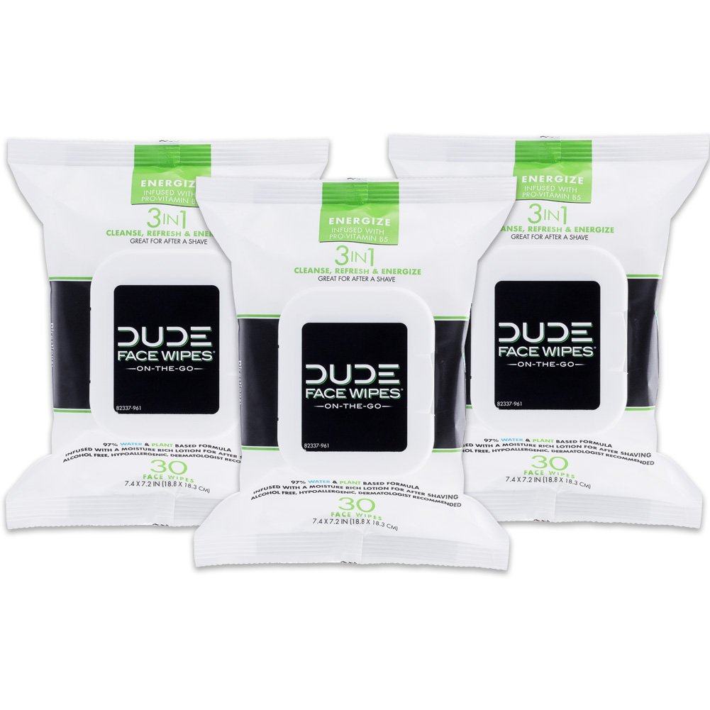 DUDE Face & Body Wipes (30 Wipes Each) Energizing & Refreshing Scent Infused with Pro Vitamin B-5, Face Cleansing Cloths for Men, Lightly Scented, Hypoallergenic, Alcohol Free, 30 Count (Pack of 3)